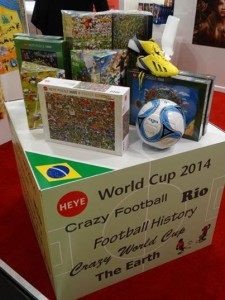 I have teamed up with the good people of Heye Puzzle s who will be producing an up to date 3000-piece jigsaw of Football Mishmash in Summer  2014. Here it is on display at the Nuremberg International Toy Fair last week.