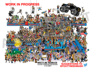 Here is a look at how my current project 'Wrestling Mishmash' is getting on.  I think I still have another 4-5 months to work on this before it is available for sale. Keep sending your suggestions & ideas of what to include to me via Twitter or on my message board! Many thanks!